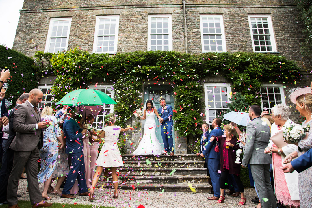 throwing confetti at Kingston Estate wedding, Staverton