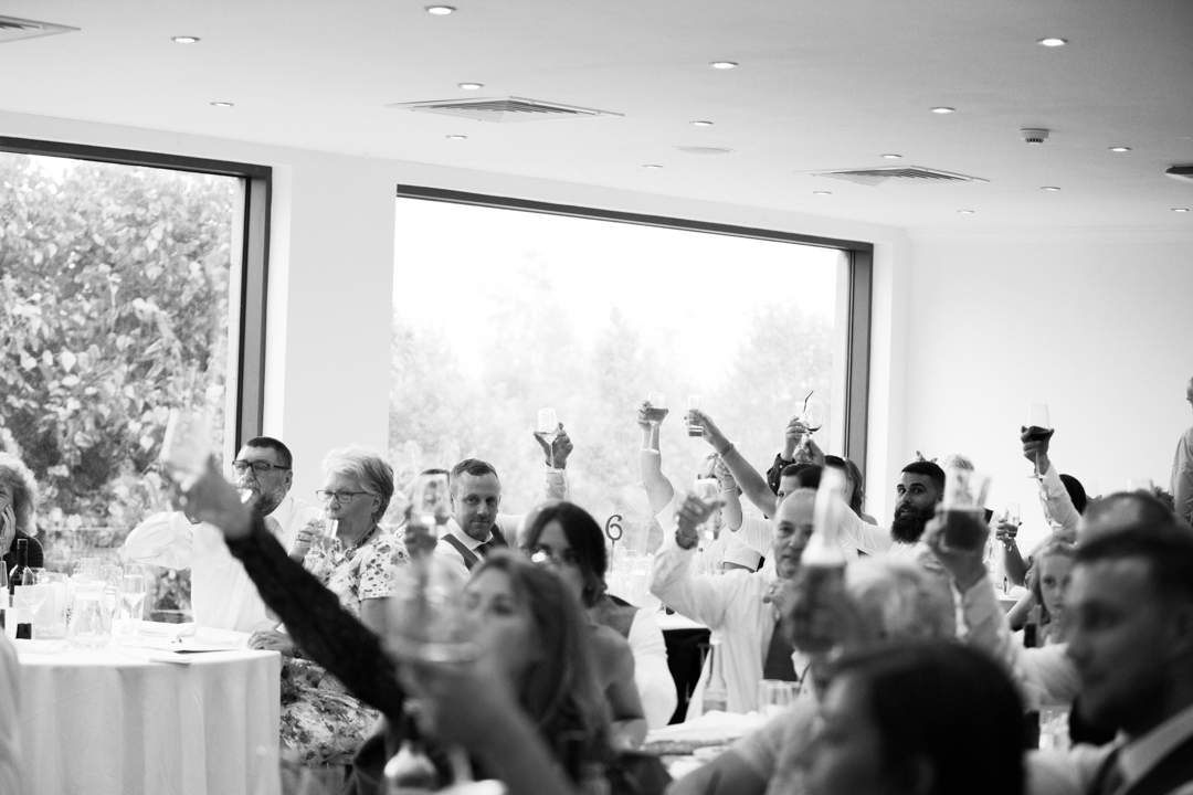guests raise glasses at wedding speech