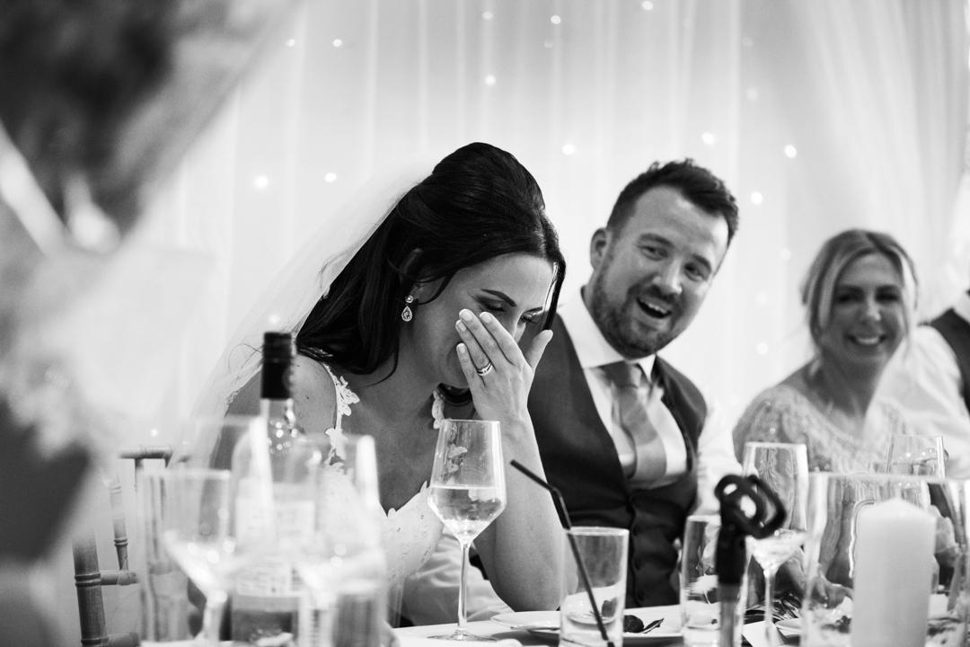 bride laughs at best mans speech Kingston Estate