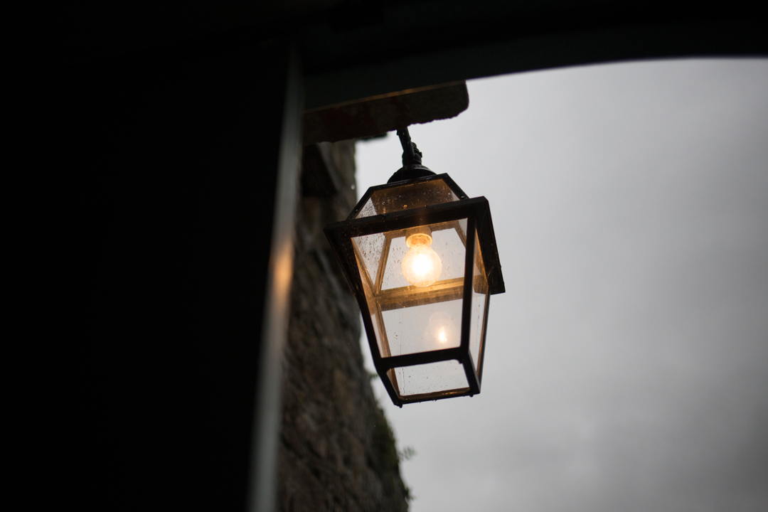 beautiful lamp in doorway Kingston Estate Devon