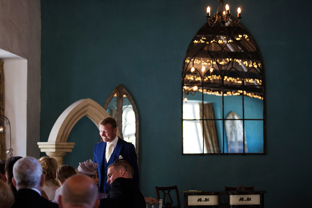 groom awaits bride at Lupton House
