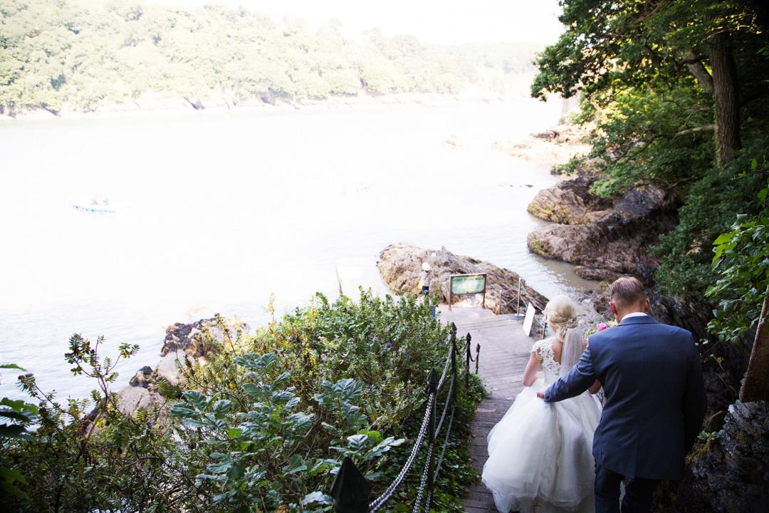 bride and groom alighting Dartmouth boat