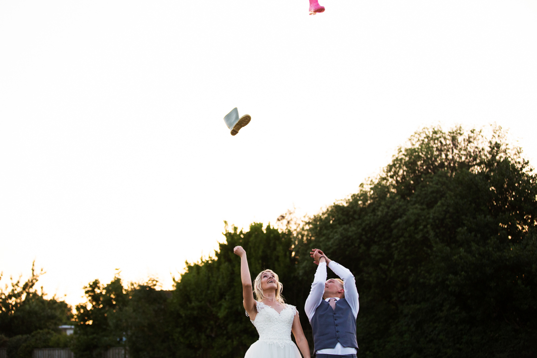 bride and groom welly wanging
