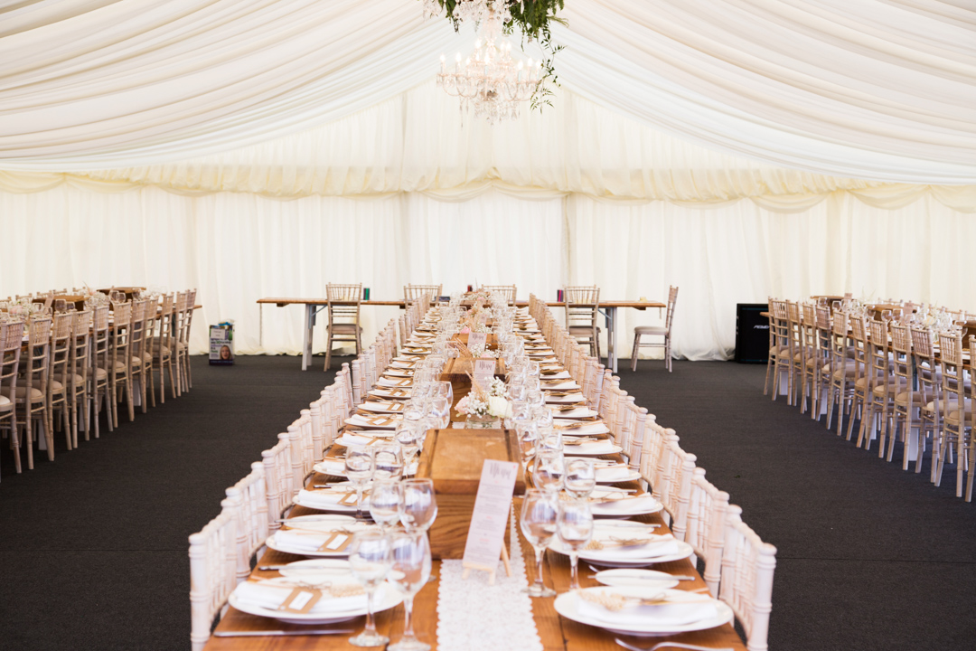 marquee dressed for wedding breakfast