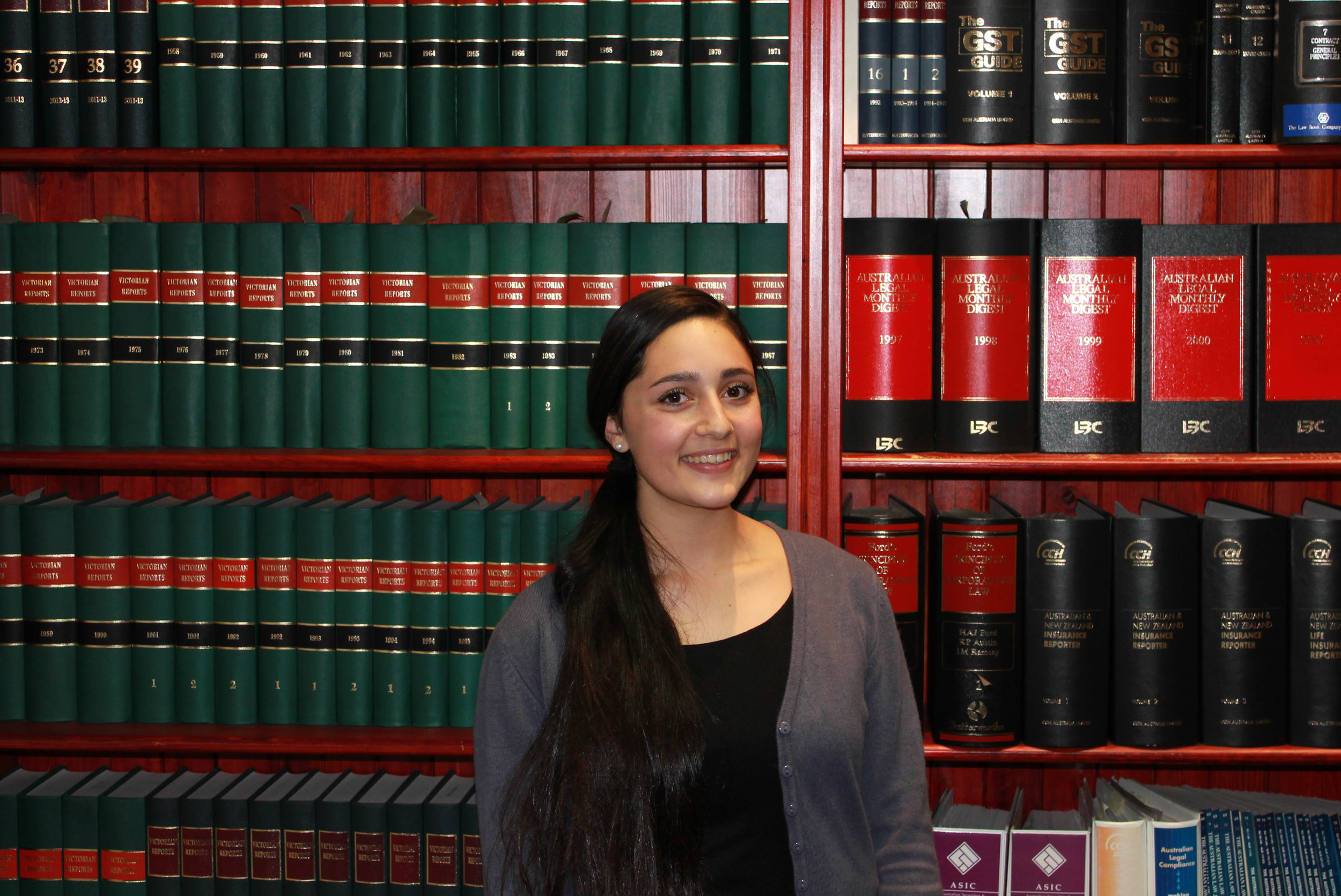 Kristy during work experience at Holley Nethercote Lawyers. Kristy also part of her week with barristers at the Victorian Bar.