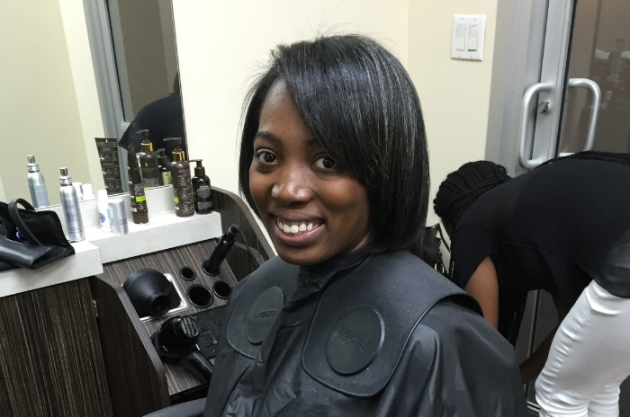 Oguntebi at the GoodHair pop up, which will opento the public July 25.