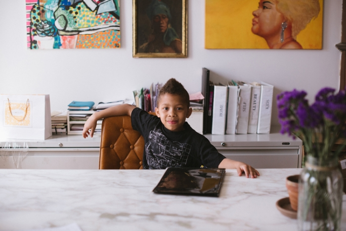 Penel in his mom's office.