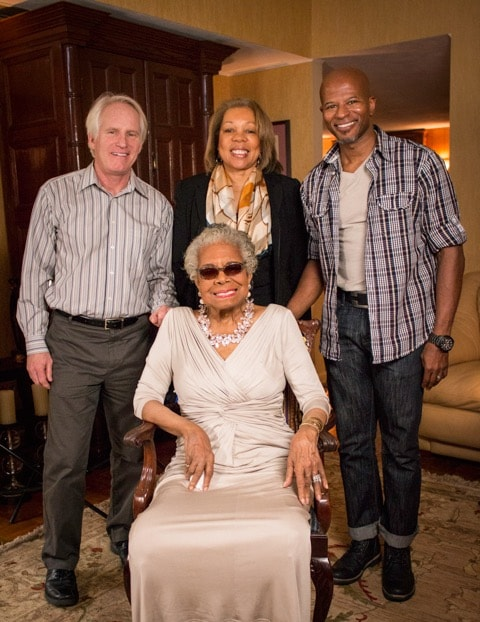 From left to right: Co-directors Bob Hercules, Rita Coburn-Whack, the film's director of photography, and Dr. Maya Angelou.