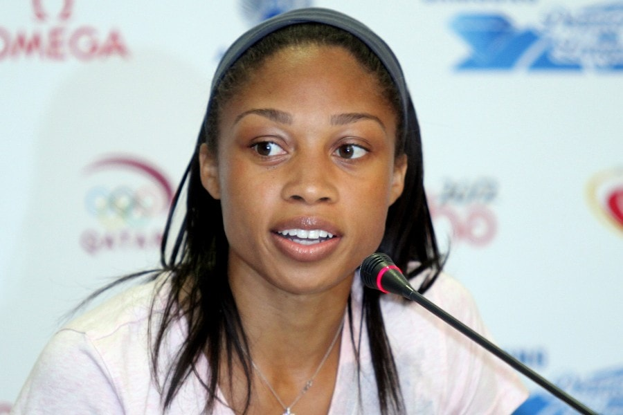 American sprinter Allyson Felix attends a Press conference prior to the 2012 Diamond League in Doha. Picture by Vinod Divakaran via Wikimedia Commons