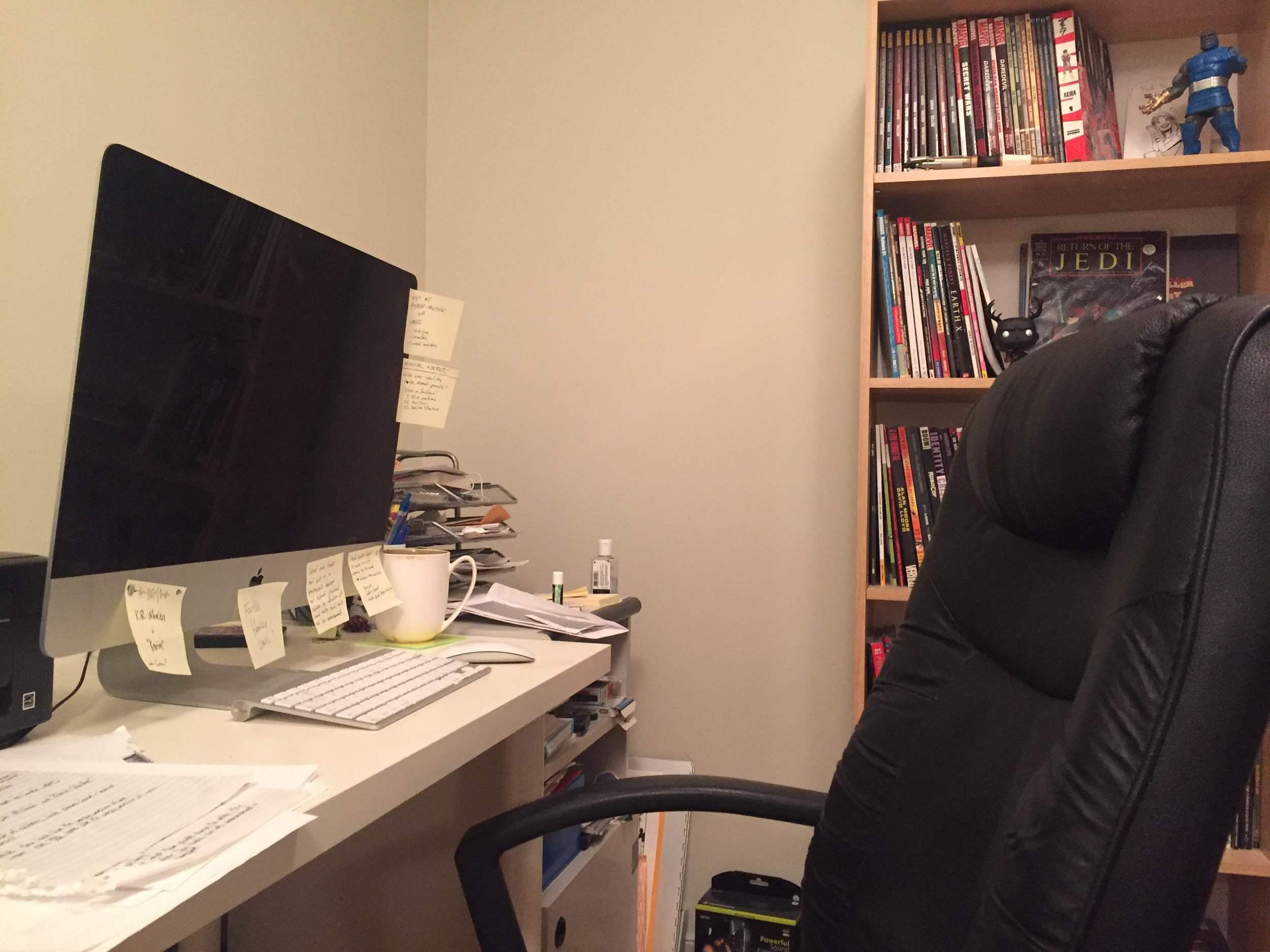 Ryan's work space overseen by lord  Darkseid