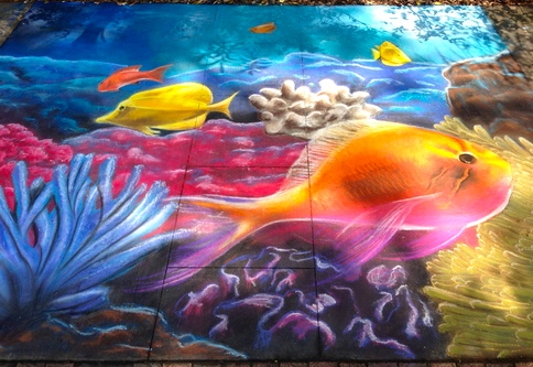 2D Chalk Art: Sea Life