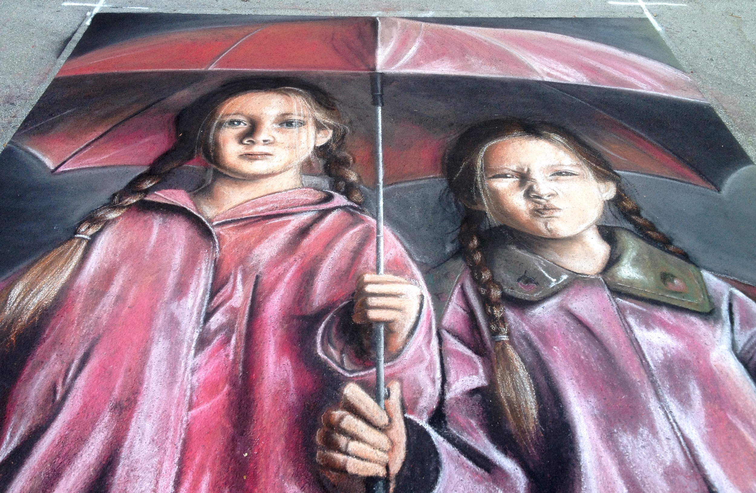 2D Chalk Art: Umbrella Girls