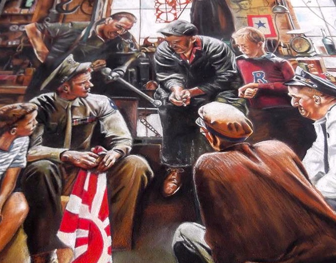 "2D Chalk Art of Norman Rockwell's ""Homecoming Marine"""