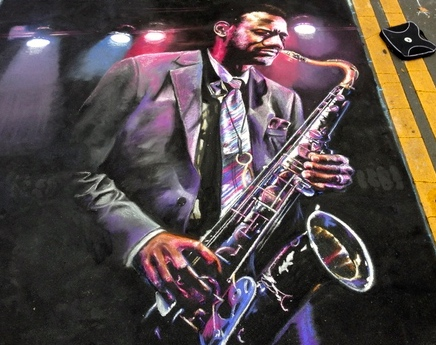 2D Chalk Art: Saxophone Player