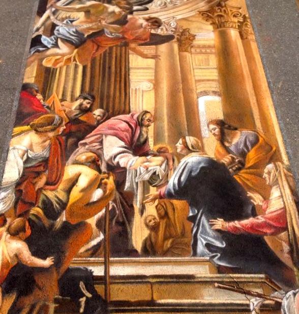 """2D Chalk Art: """"Presentación en el templo"""""""