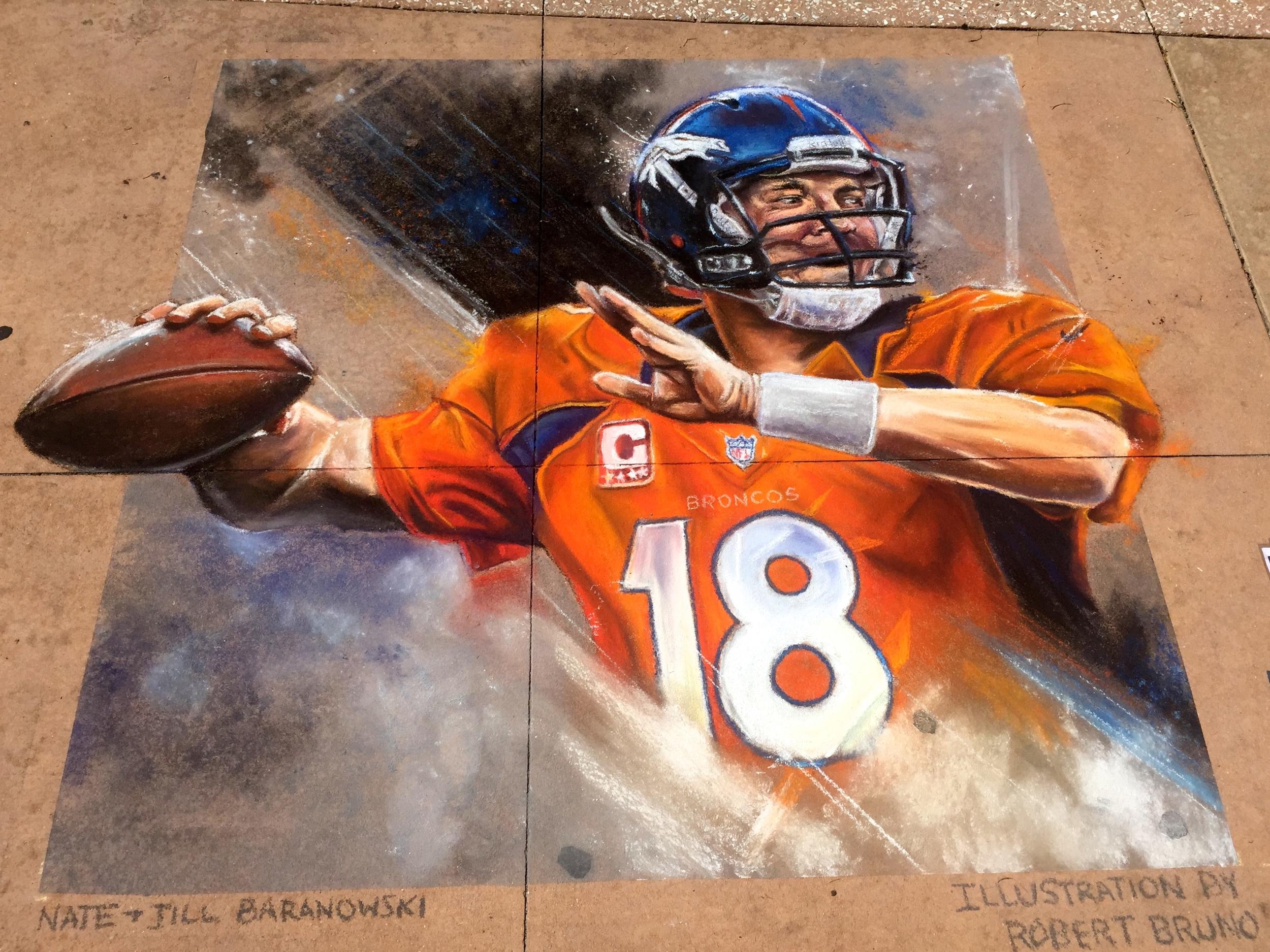 2D Chalk Art: Peyton Manning
