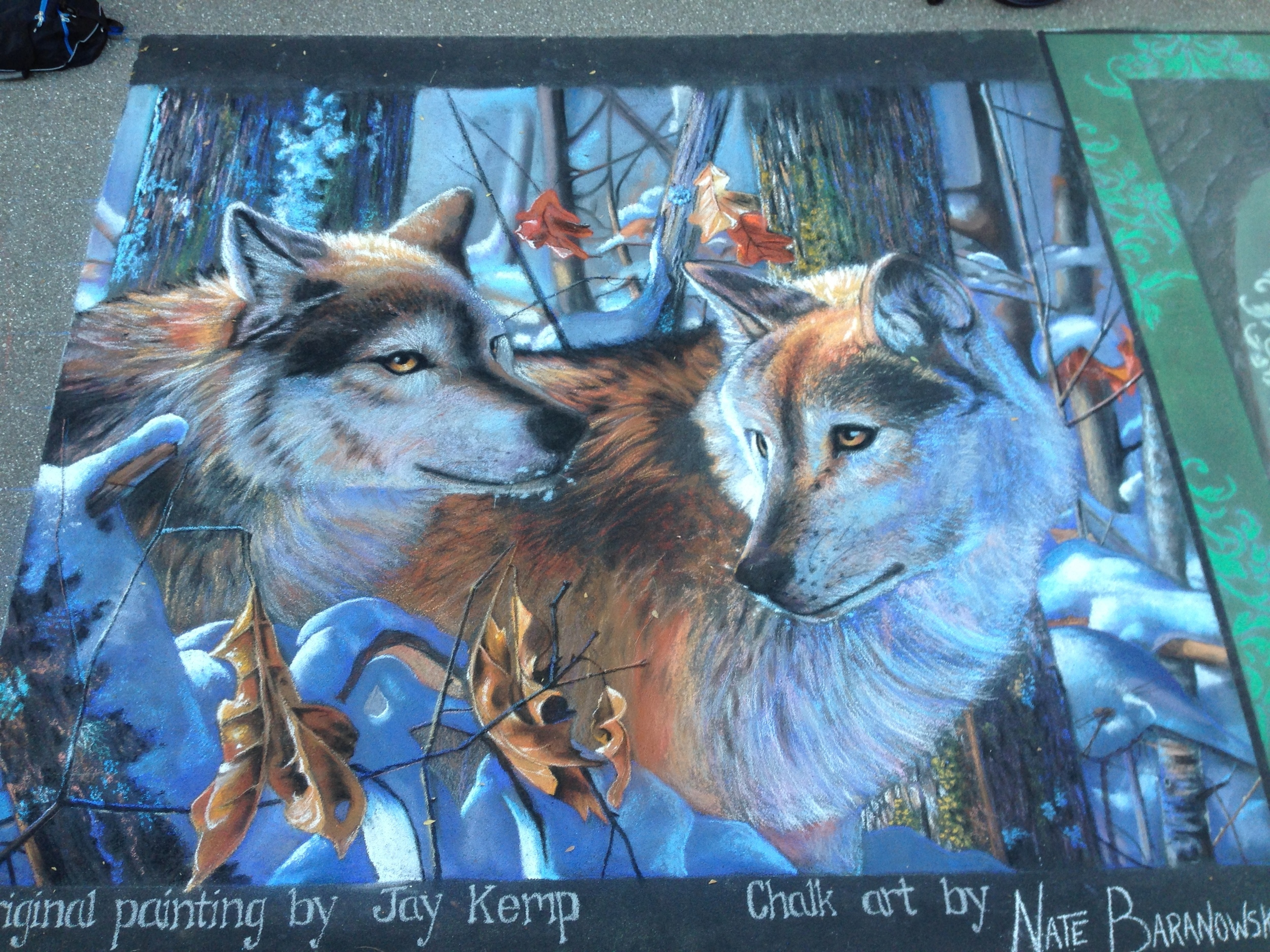 2D Chalk Art: Wolves