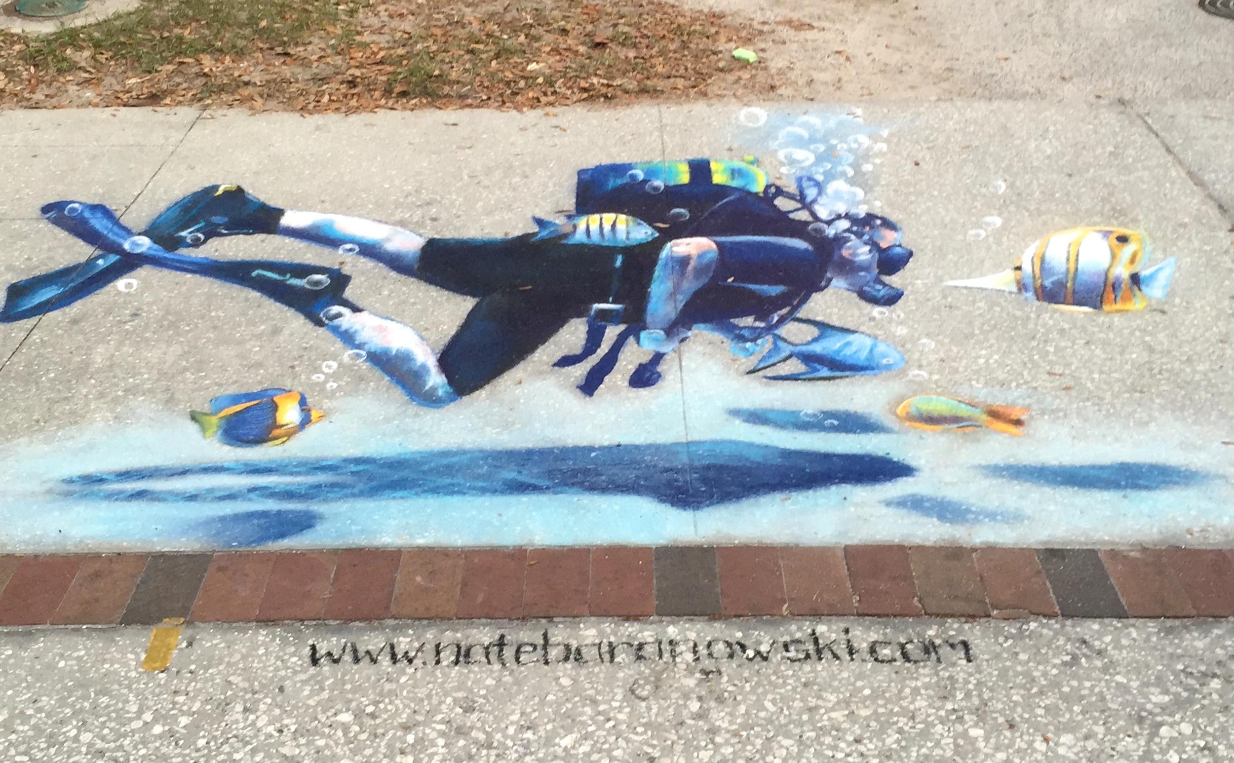 3D Chalk Art: Diver