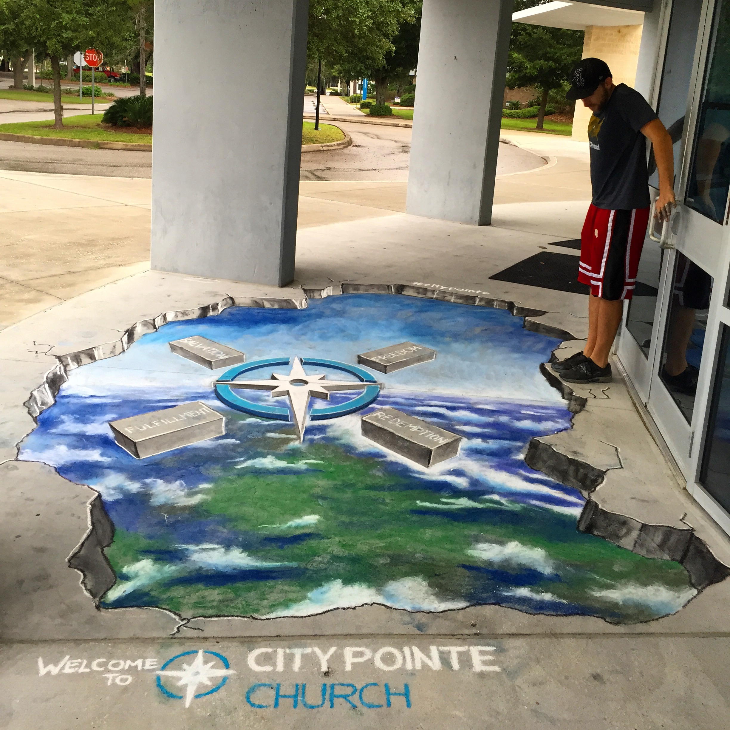 3D Chalk Advertisement: City Pointe Church