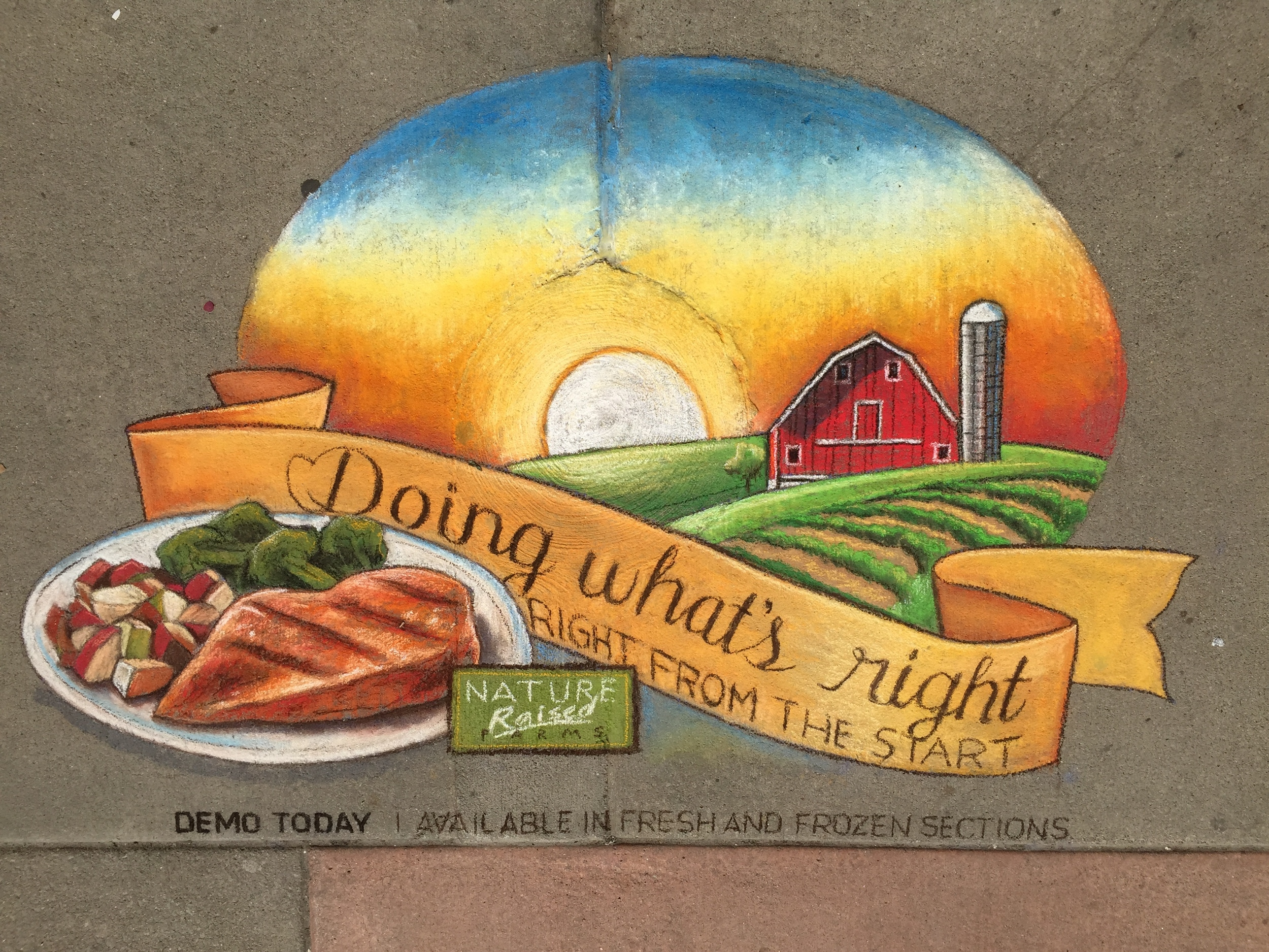 2D Chalk Advertisement: Nature Raised Farms Chicken