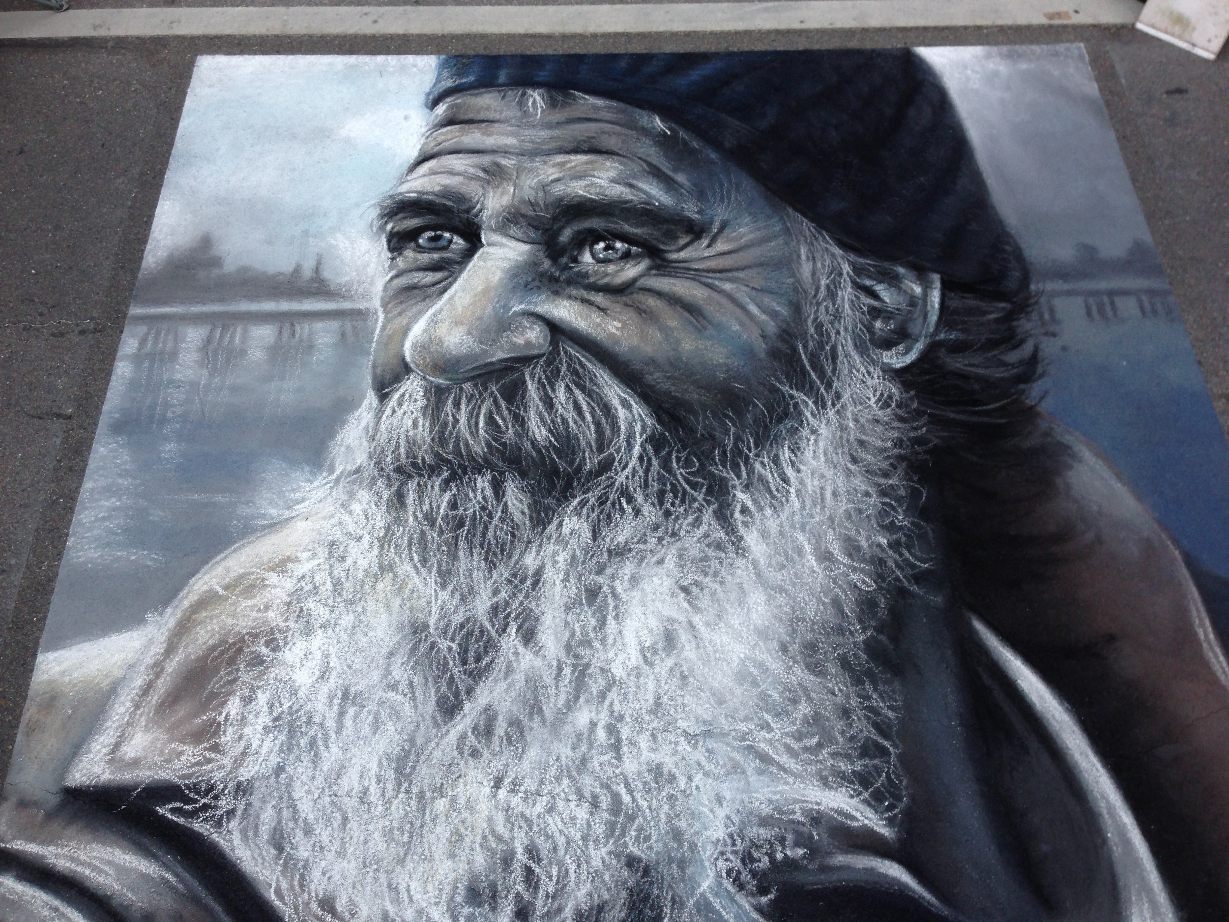 2D Chalk Art: Old Fisherman