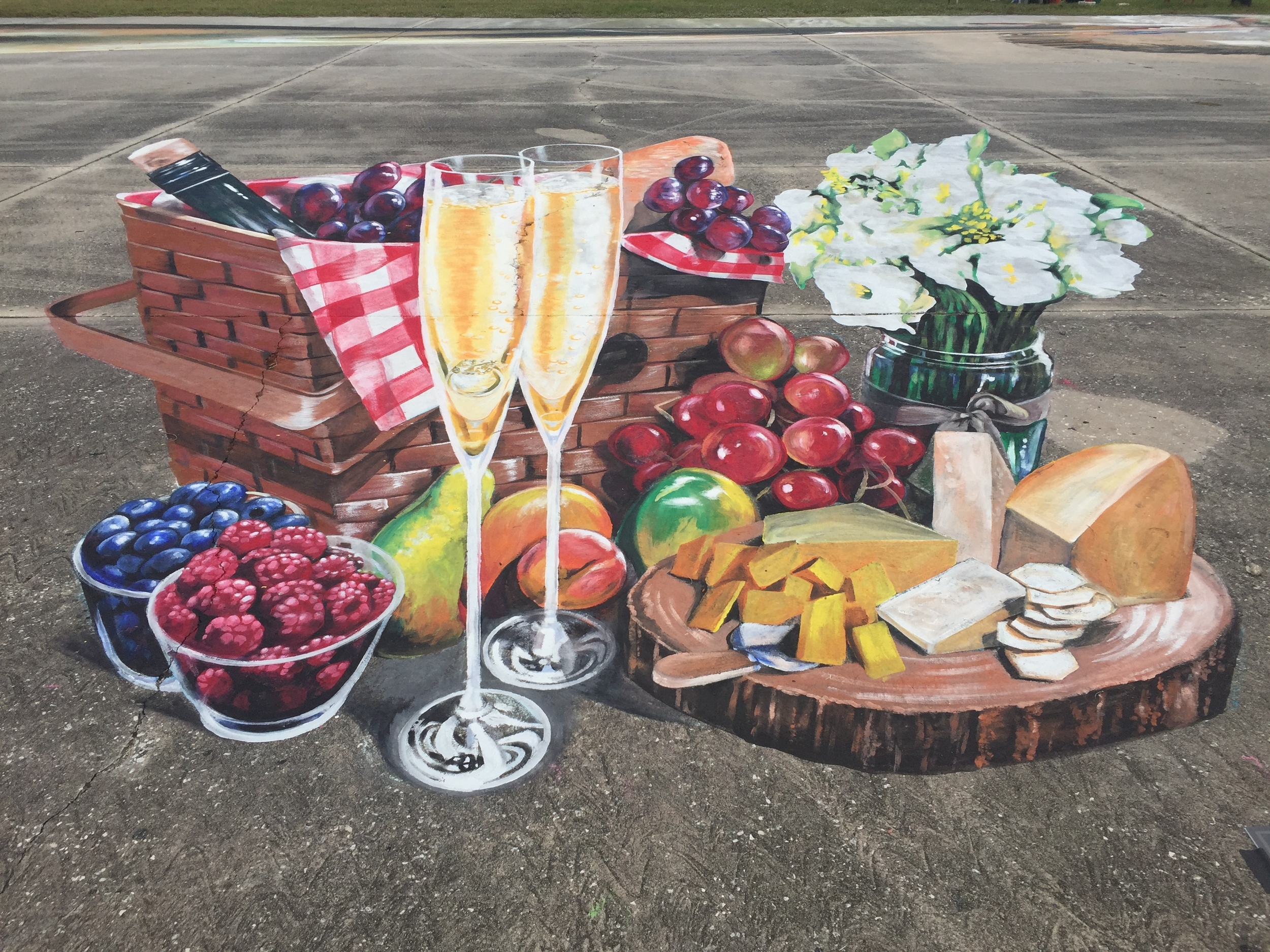 "3D Street Painting: ""Eat, drink, and get married"""