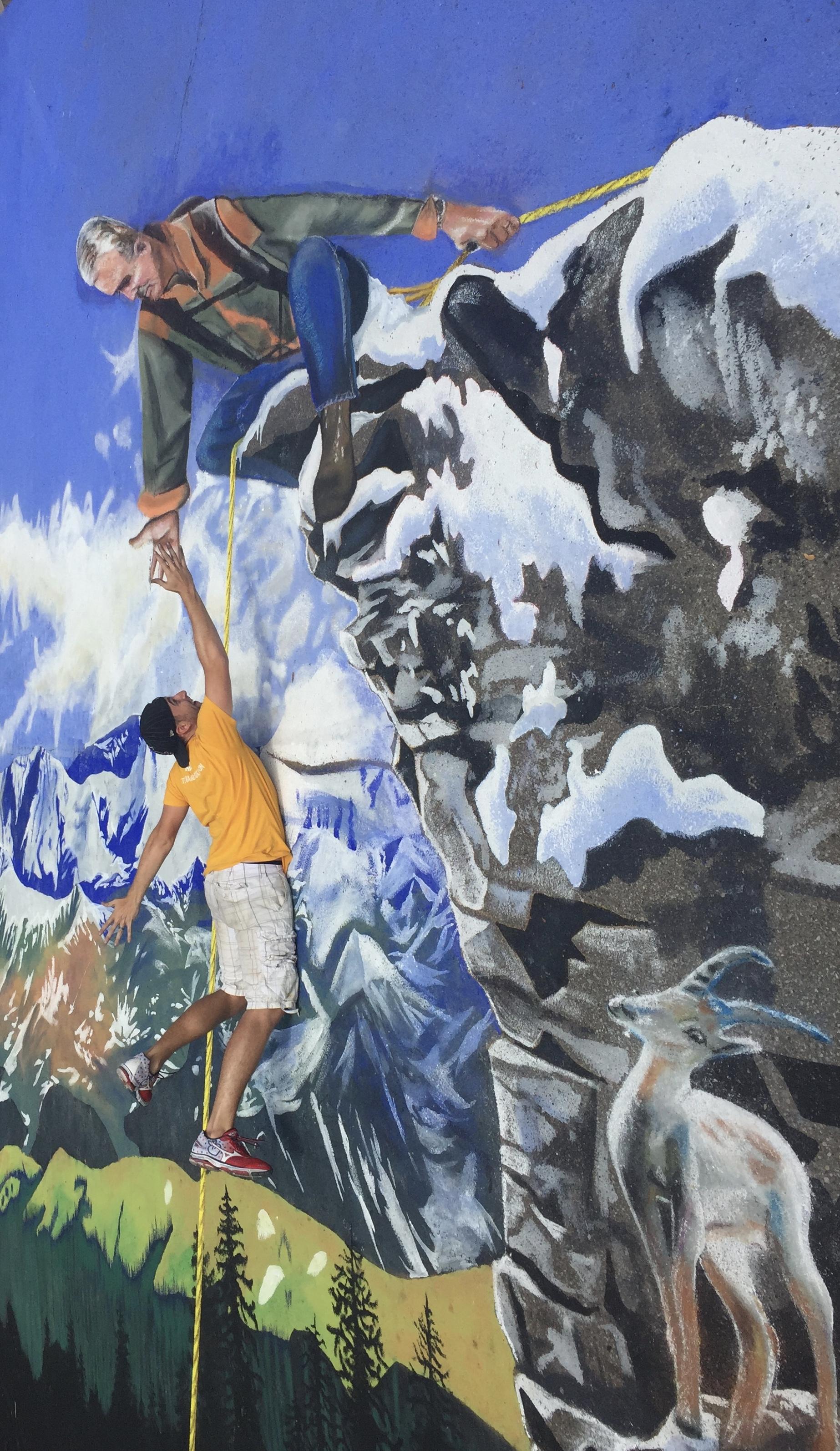 3D Street Painting: Rock Climber