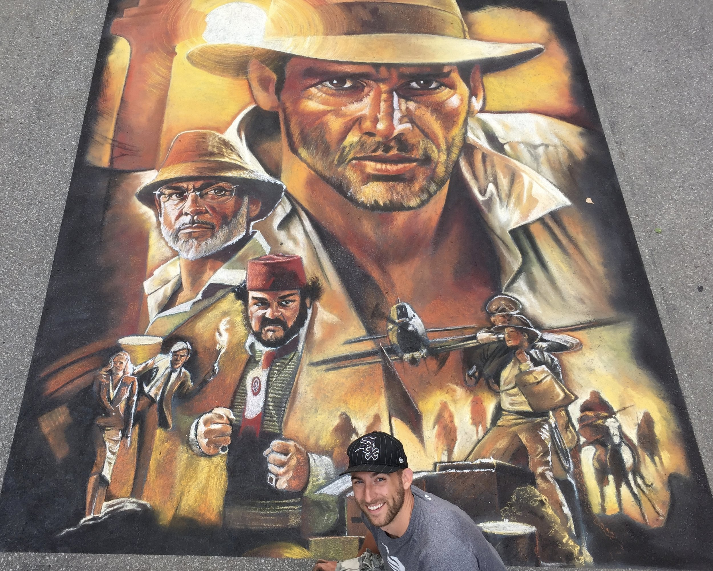 2D Chalk Art: Indiana Jones