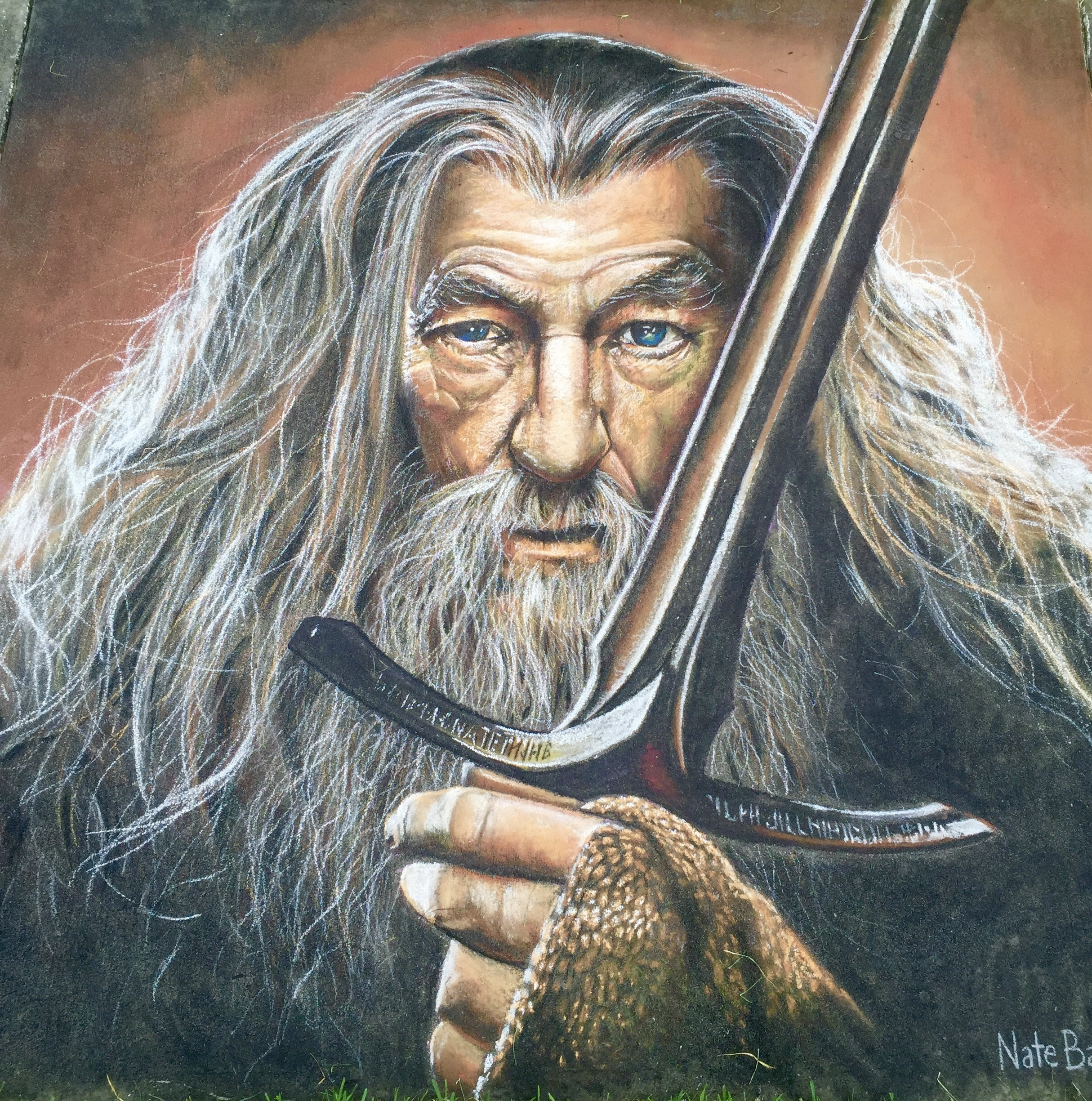2D Chalk Art: Gandalf