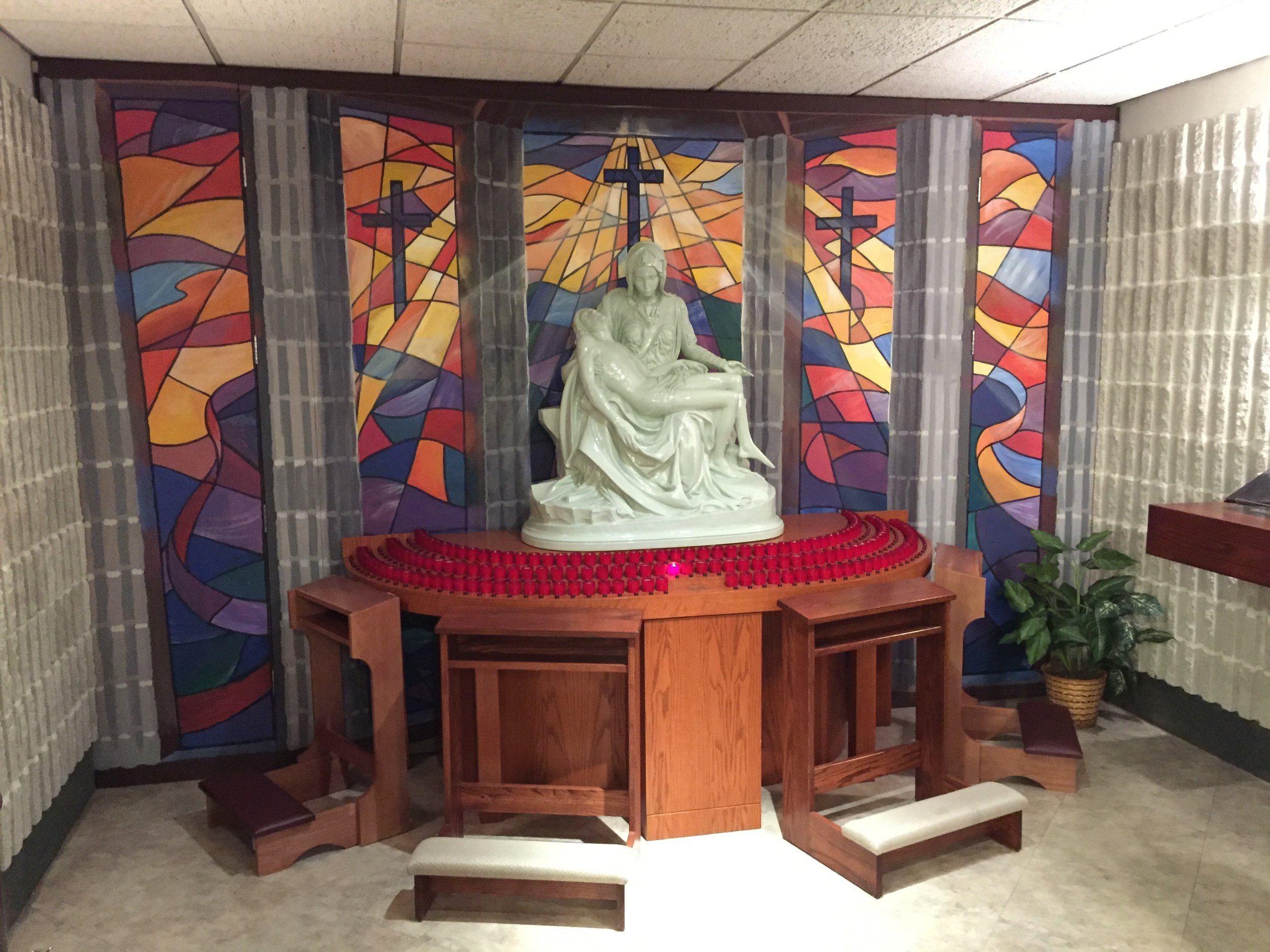 Stained Glass Mural for Pieta Statue