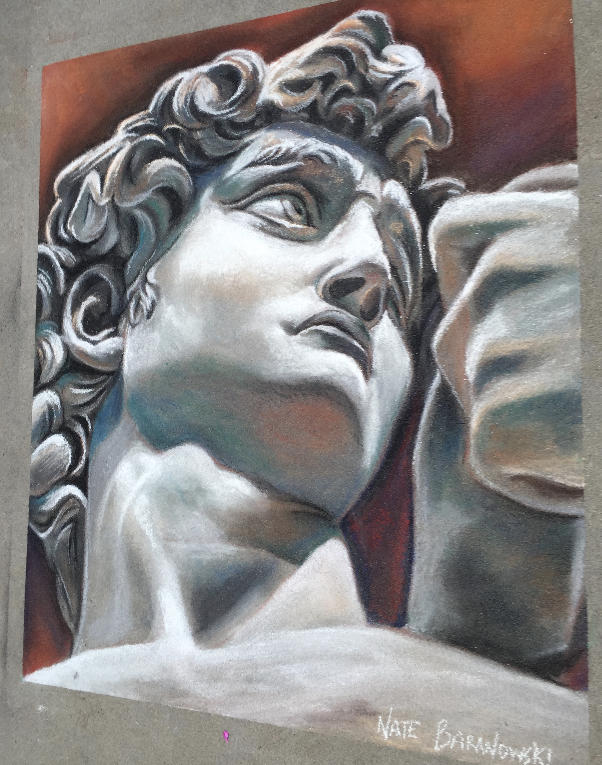 2D Chalk Art: Michelangelo's David