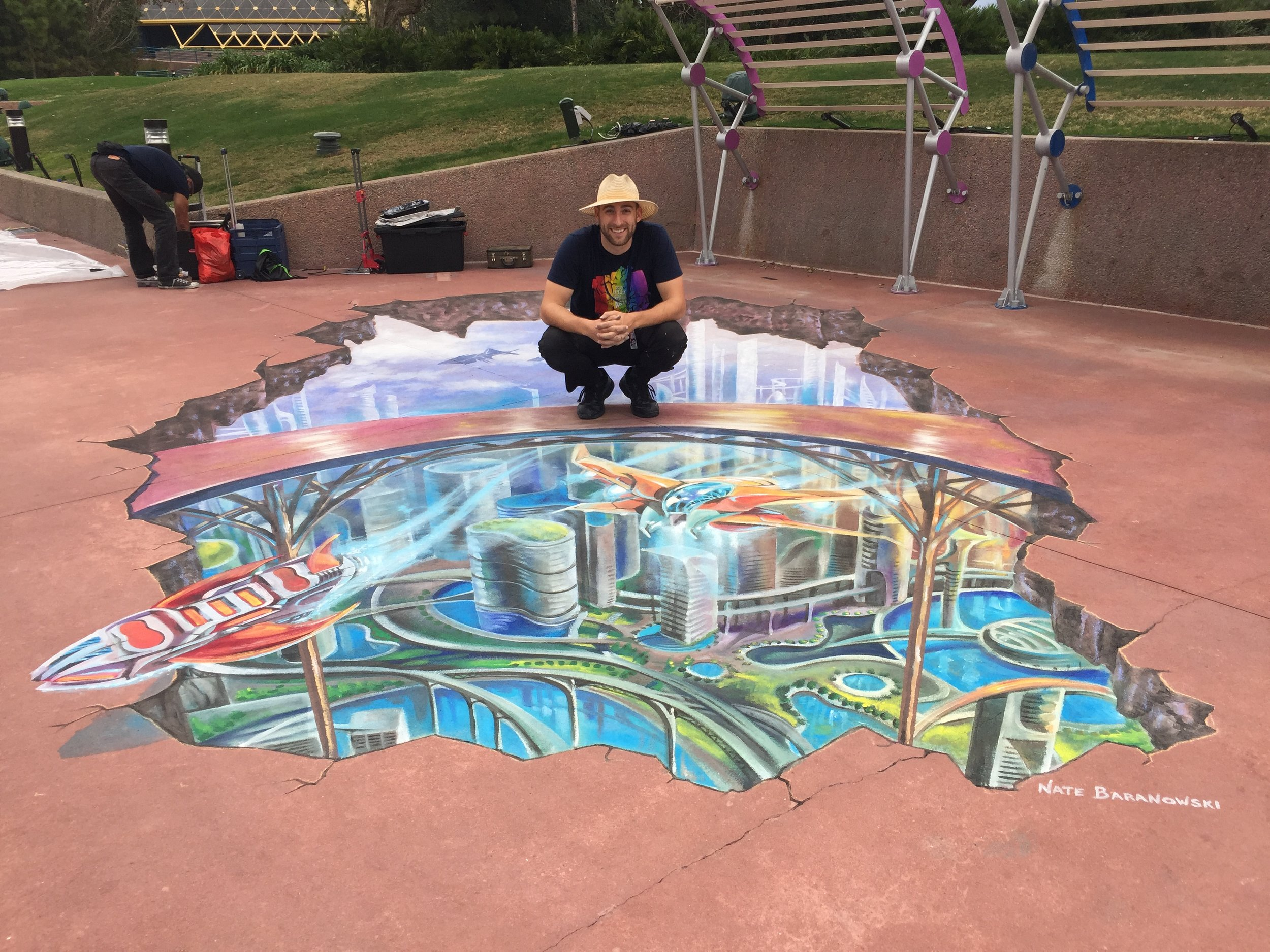 3D Chalk Tomorrowland inspiration for Disney at the 2018 Epcot International Festival of the Arts