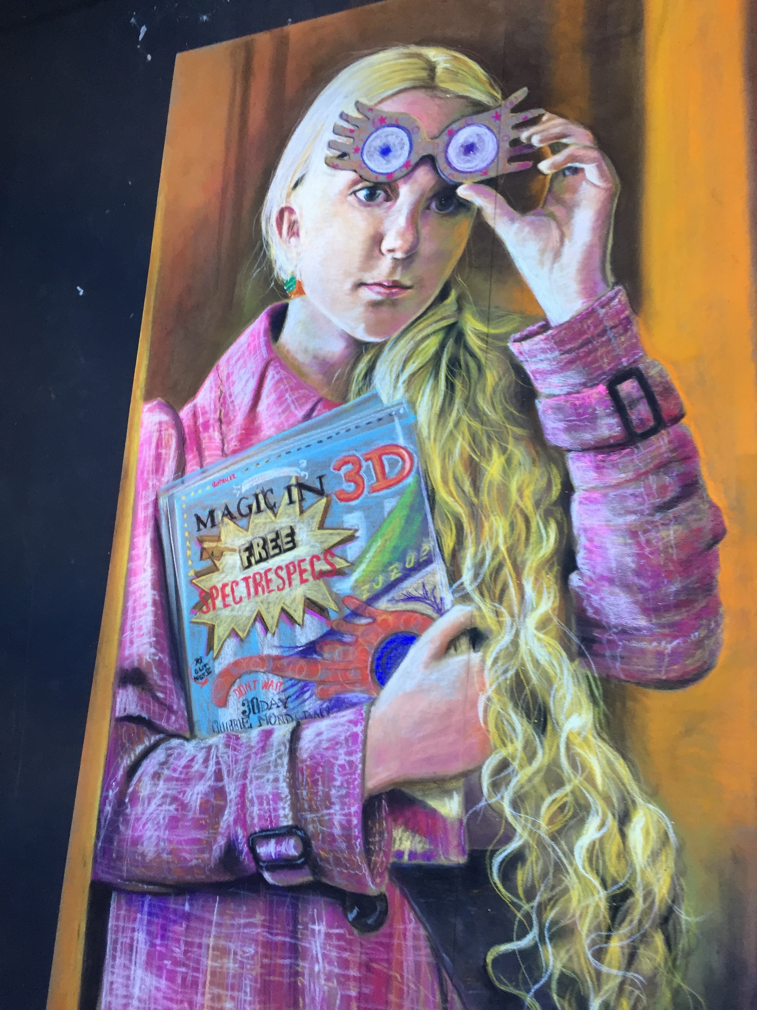 Luna Lovegood chalk art at the Celebration of Harry Potter at Universal Studios Orlando Florida