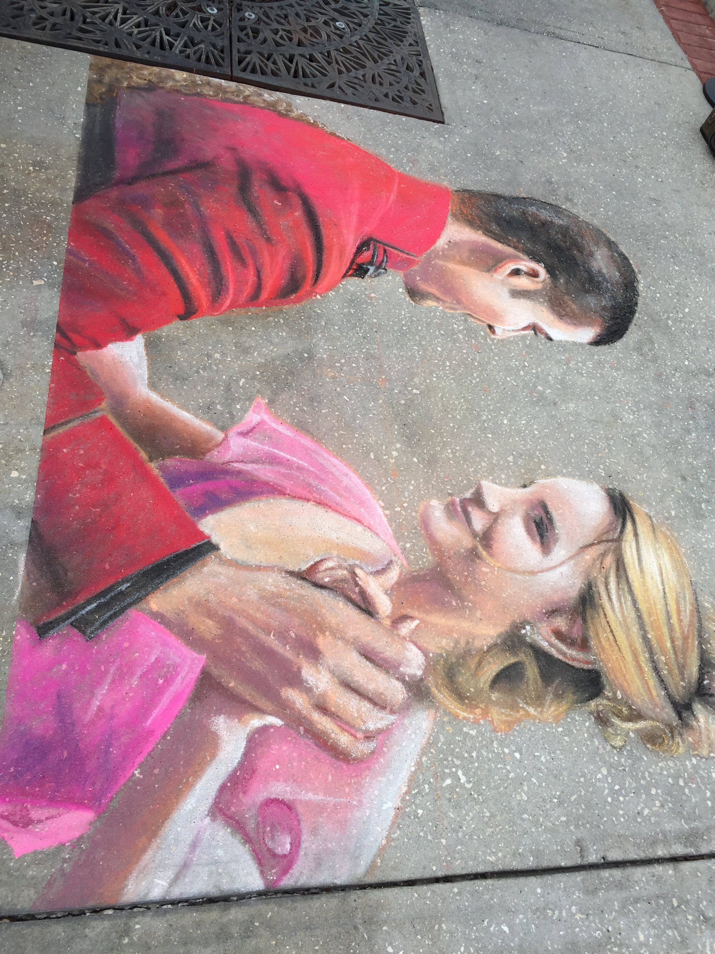 Victor and Hermione Dancing Chalk Art