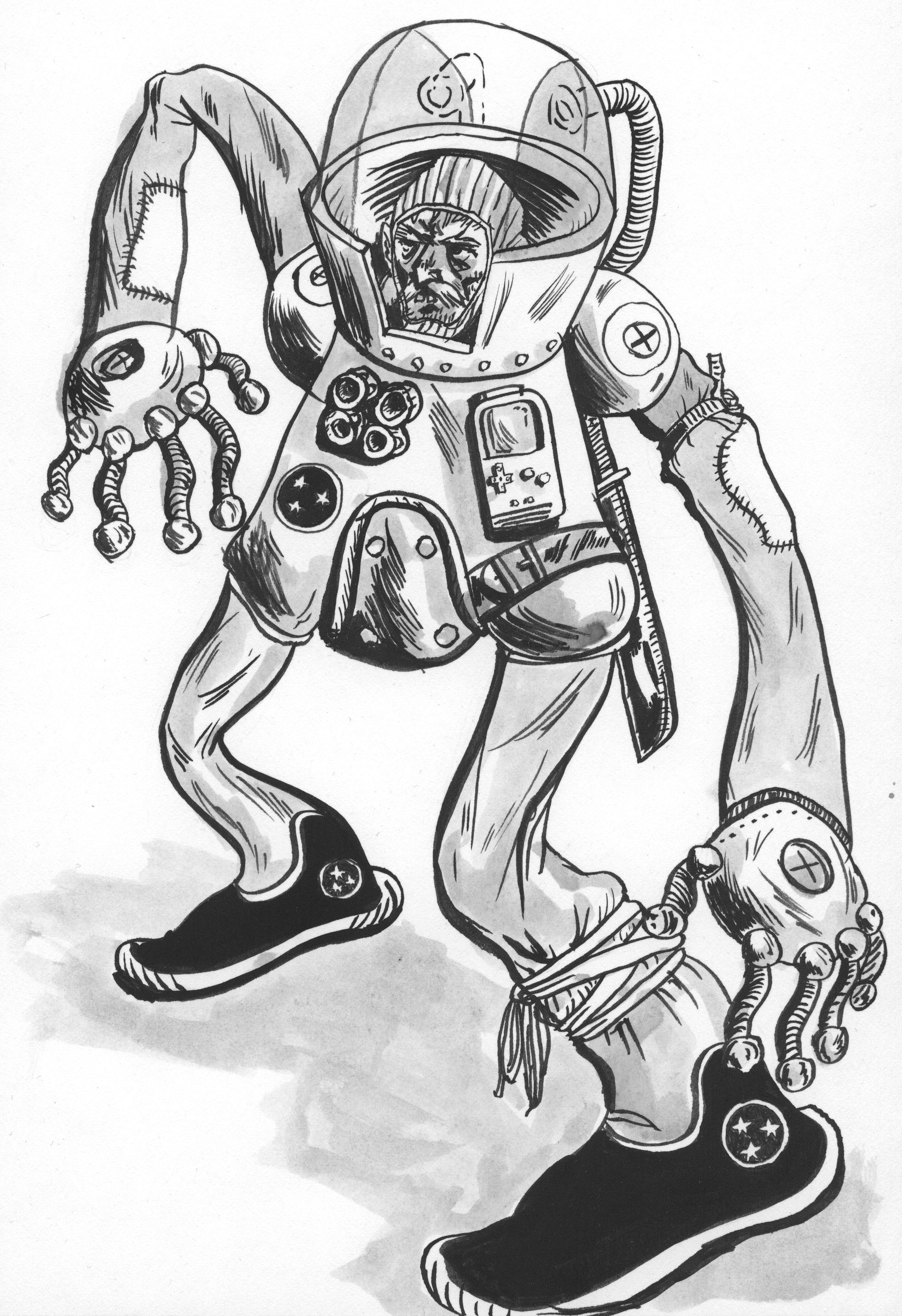 """""""Grizzly Suit Atoms"""" - crackpot space inventor and survivalist."""