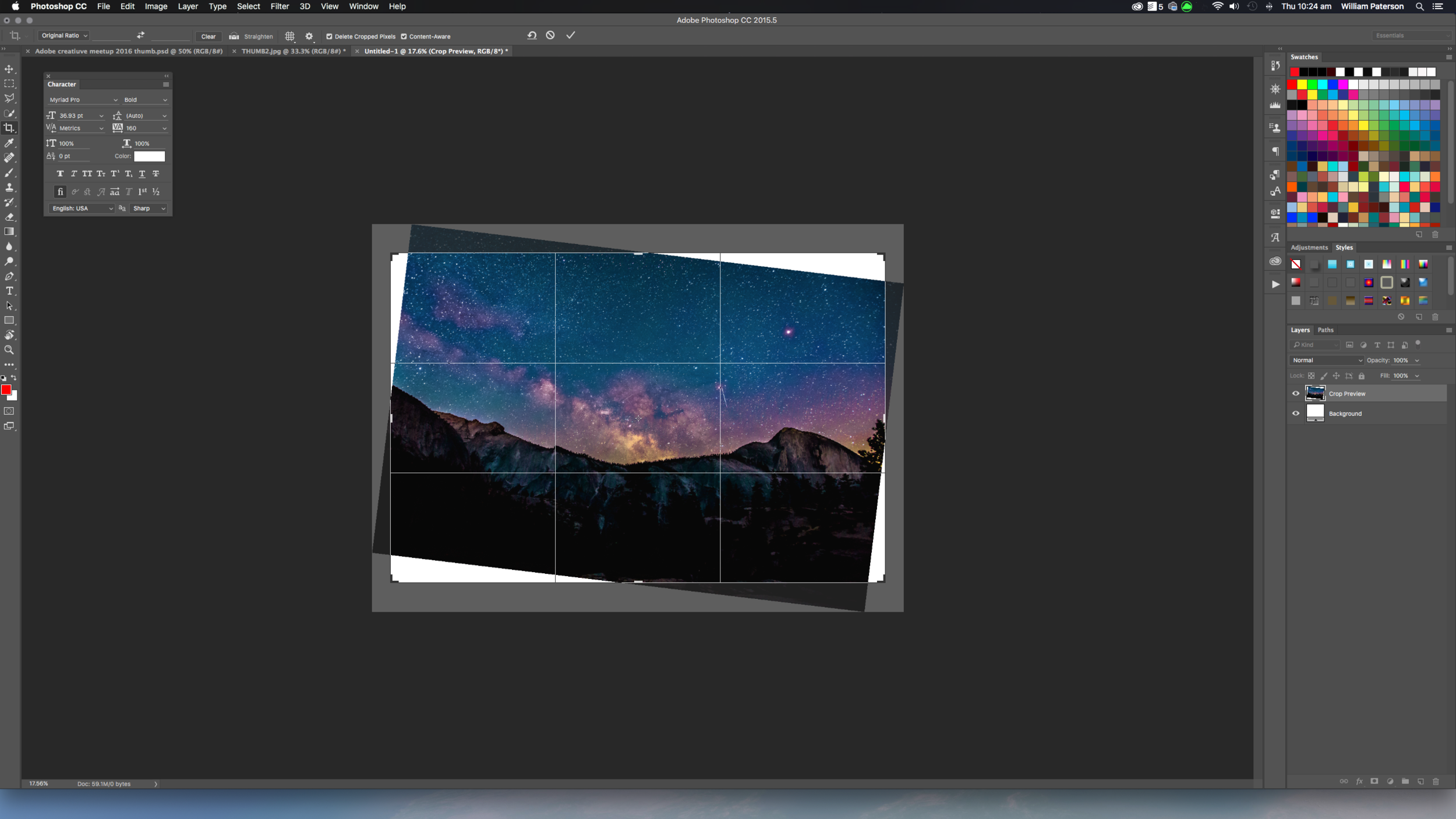 I'm using the Content Aware function to create more of the image as I'm changing the horizon line.