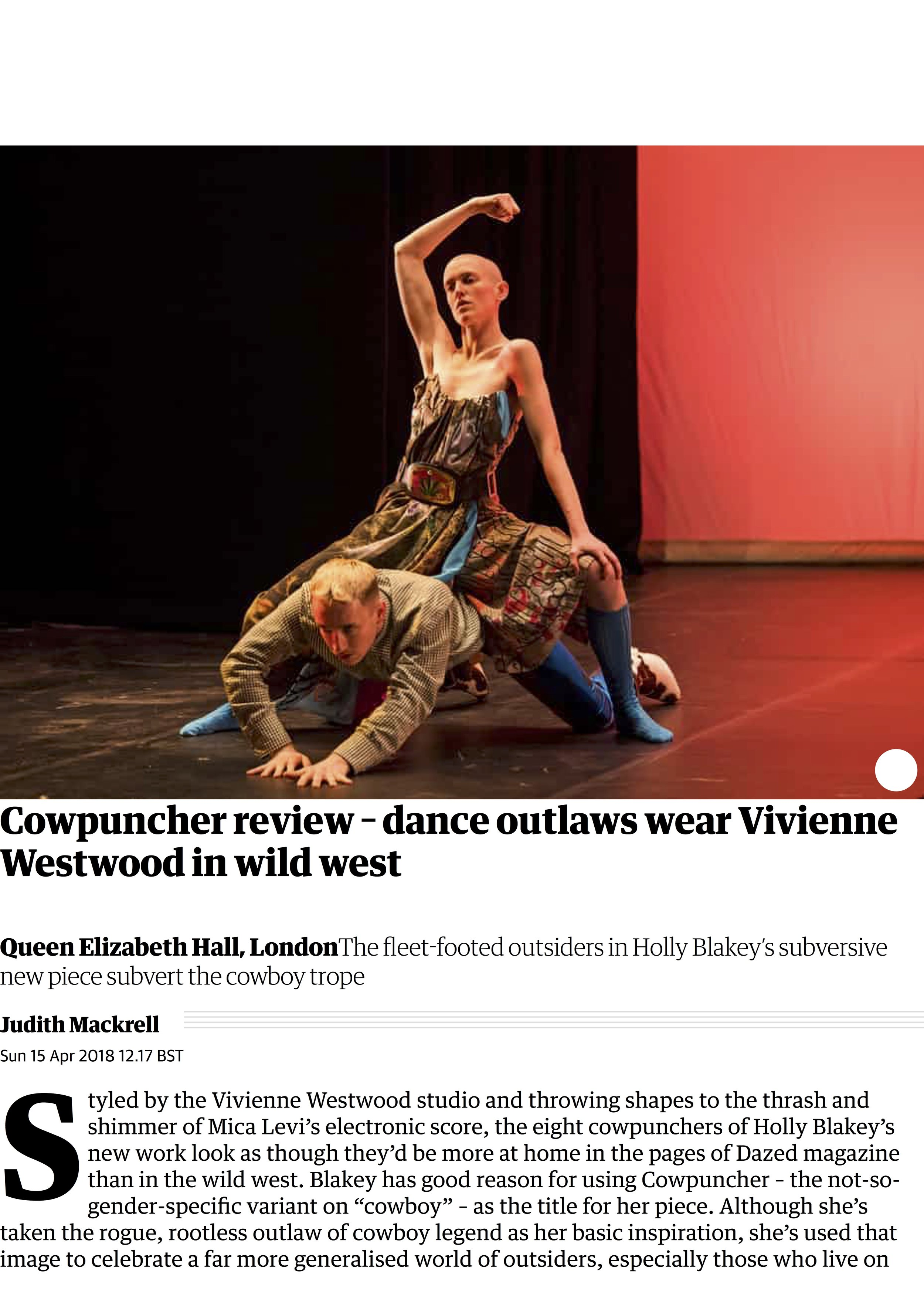 Cowpuncher review – dance outlaws wear Vivienne Westwood in wild west | Stage | The Guardian.jpg