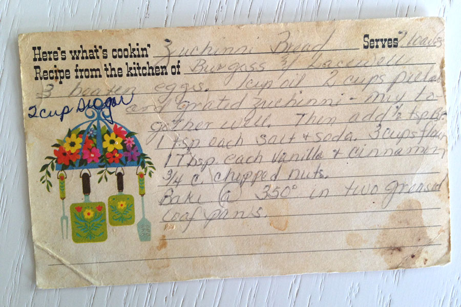 Original recipe card from Anita June Brooks recipe stash