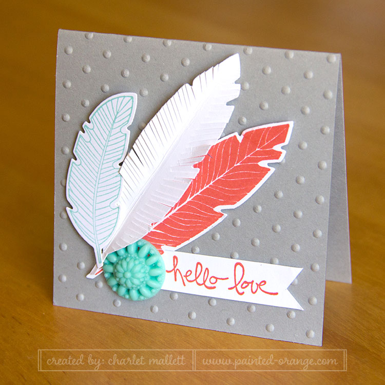 Hello Love Four Feathers 3x3 Card