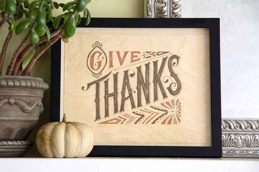 Give Thanks Printable on Birch