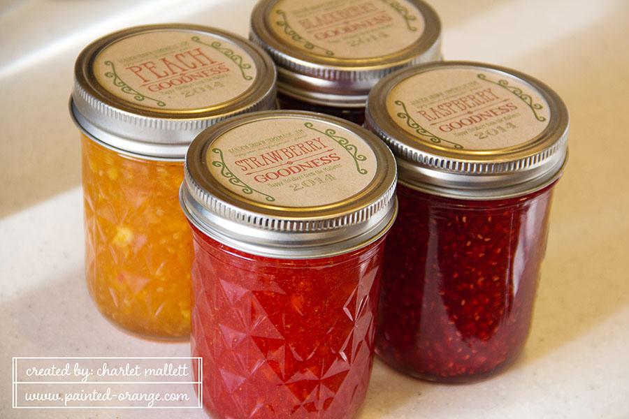 Homemade jam from the garden: strawberry, raspberry, peach & blackberry.