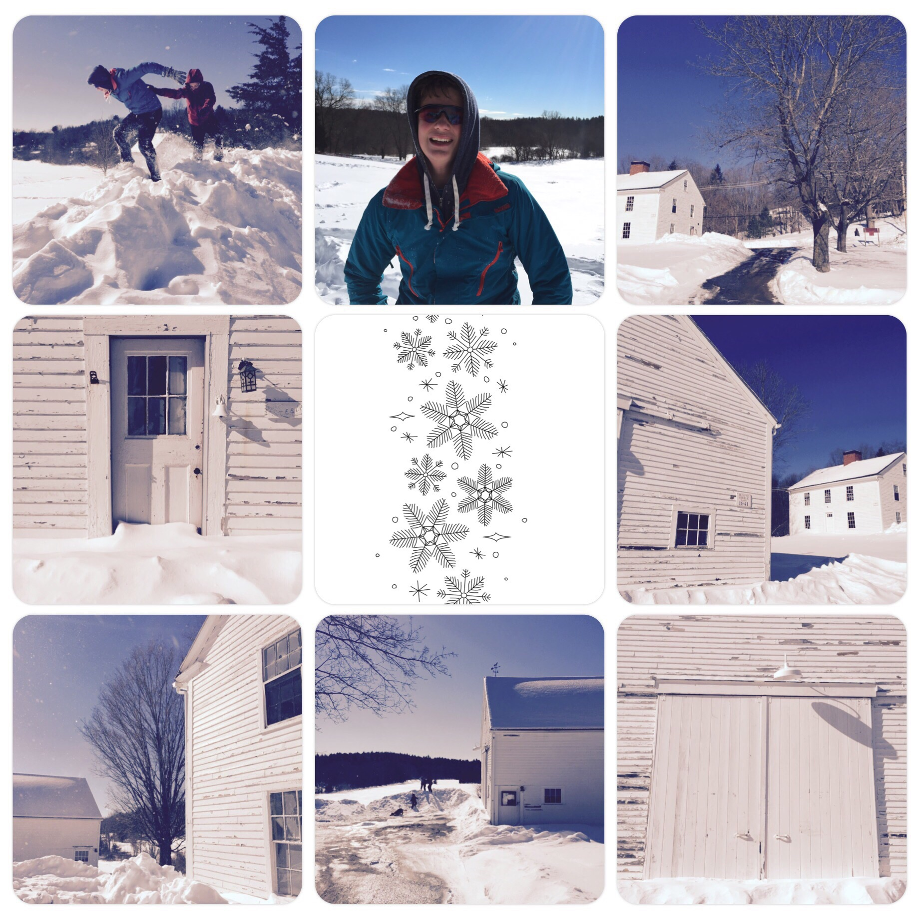 Took the kids and dog to Burpee Steele Barn and surrounding land. The kids played in the snow and Lucy ran but it was way TOO COLD to stay for long.