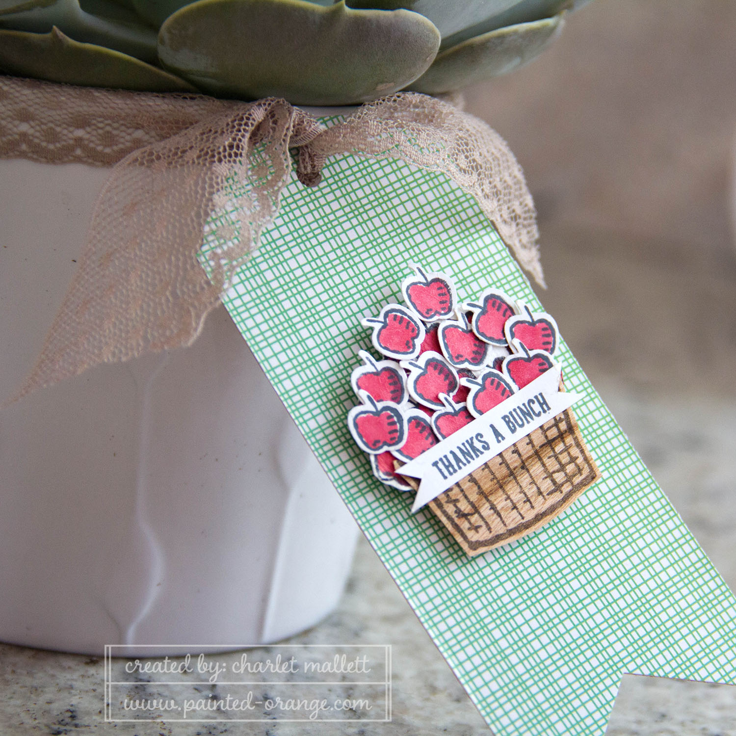 Sprinkles of Life Apple basket Tag using Tree Builder punch. Stampin' Up!