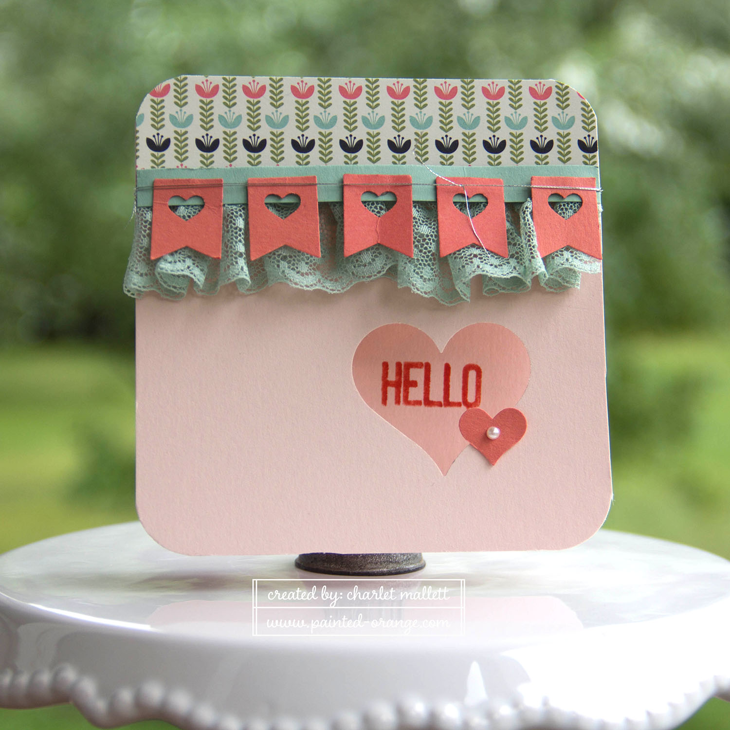 Hello Life Stamp set - Hello card. Tip: Use small heart from the heart border punch to punch out the center of the banner punch. #punchitup Stampin' Up!