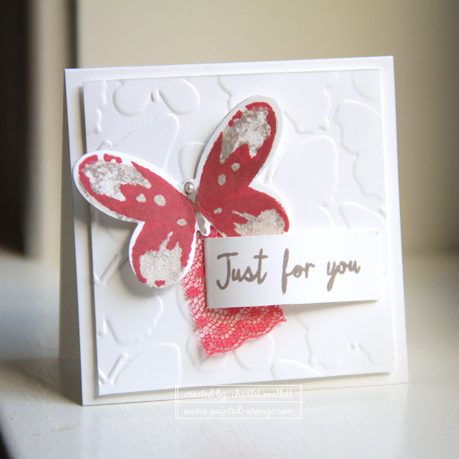 Watercolor Wings - Just for you 3x3 notecard