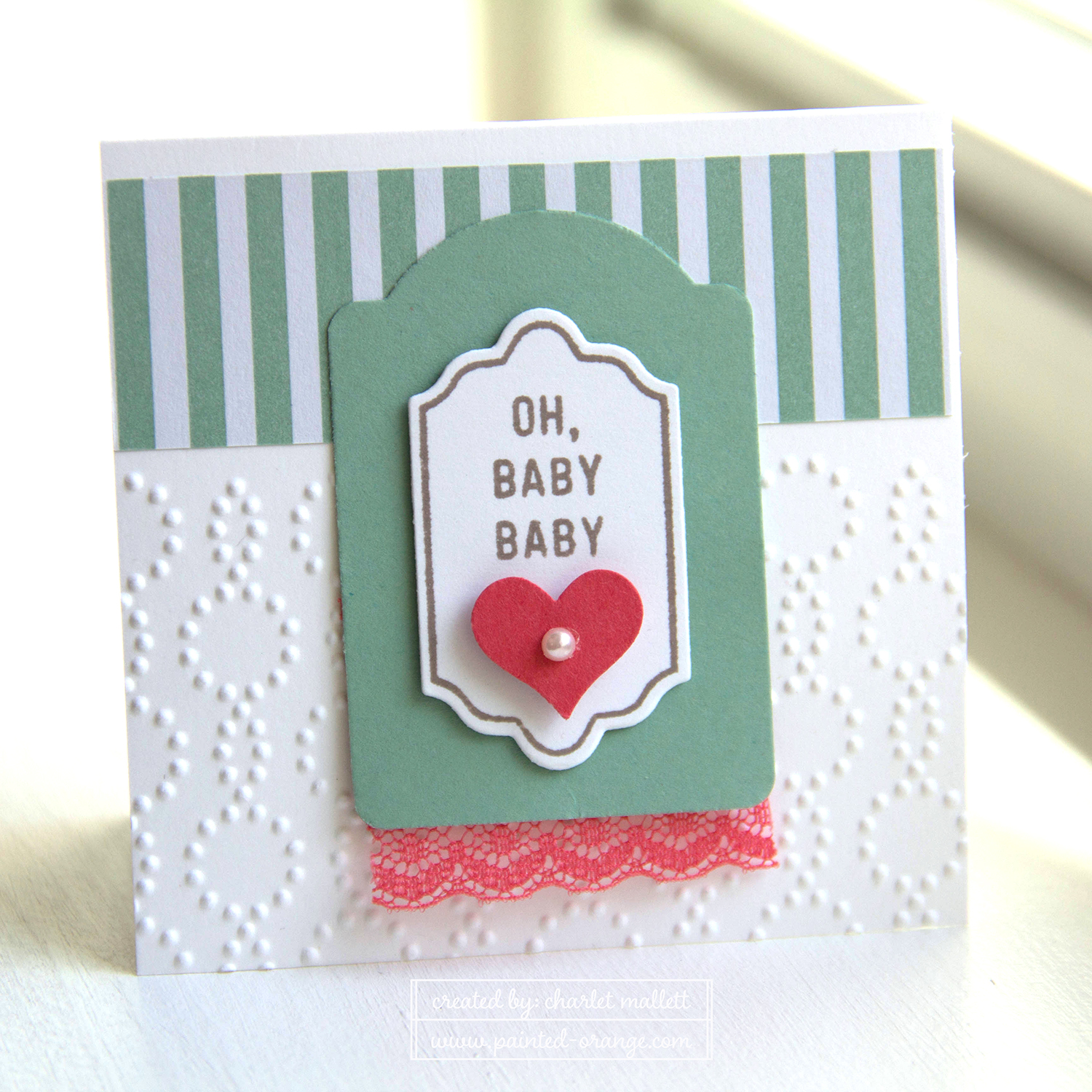 Happy Notes 3x3 OH Baby Baby Card, Mint Macaroon