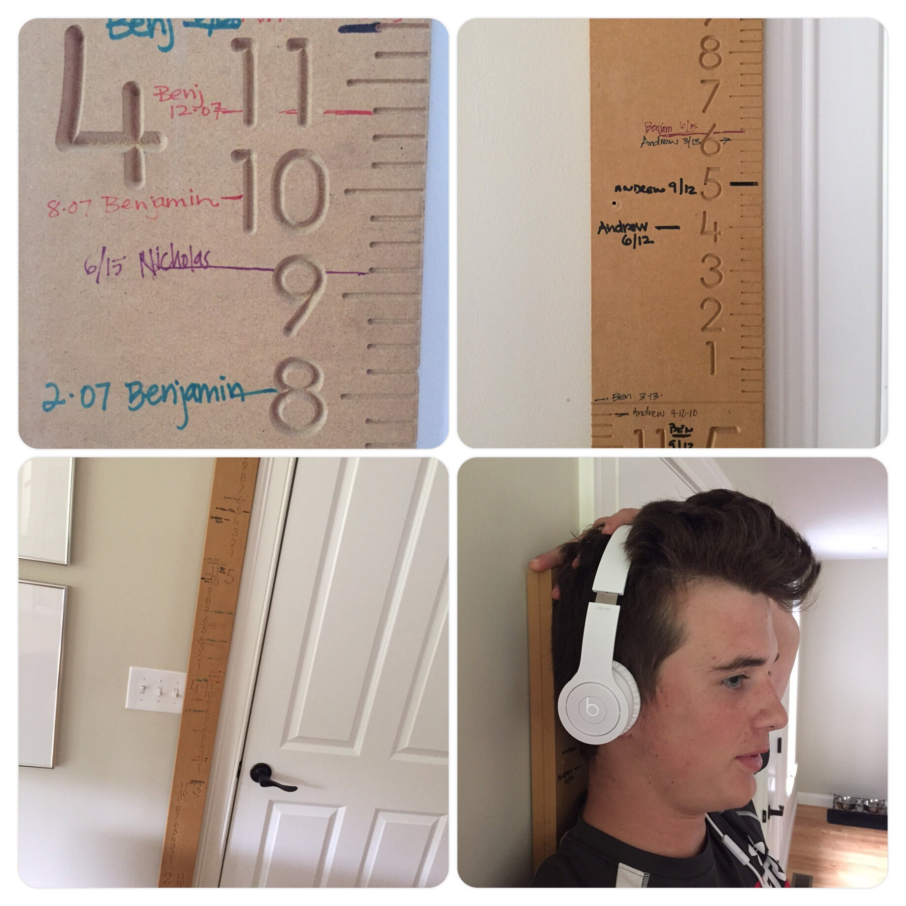 Surprise HAPPY mail from Utah. Dad mailedour growth chart we forgot to pack - thank you!