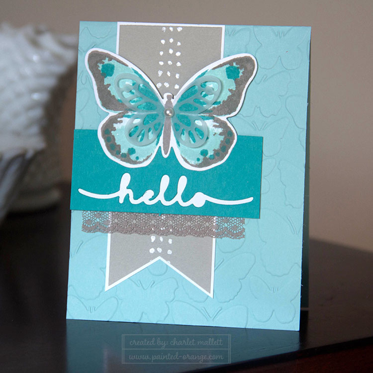 Watercolor Wings stamp set with Hello greetings thinlet
