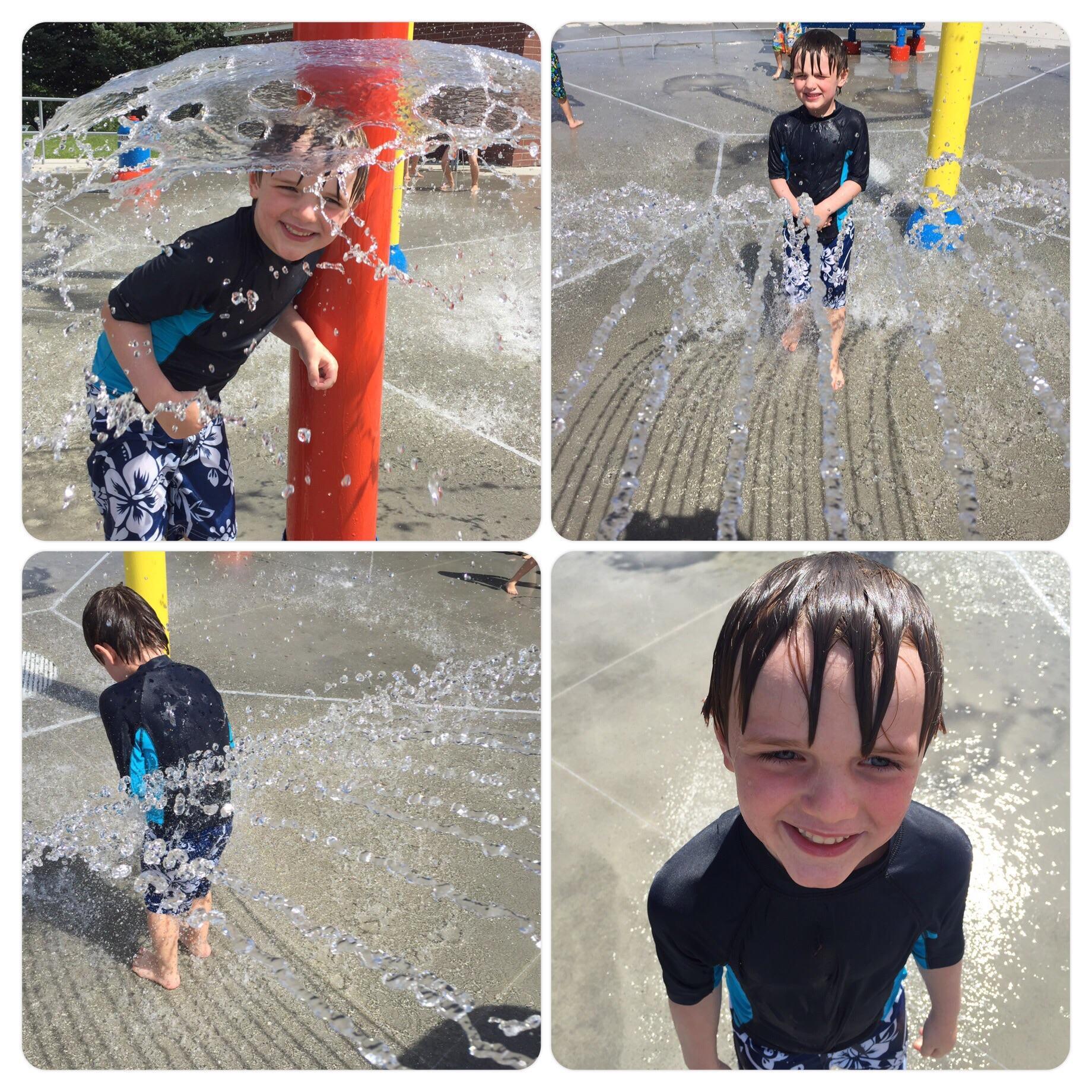 Splash pad fun. Nicholas loves getting wet! 7.31.15