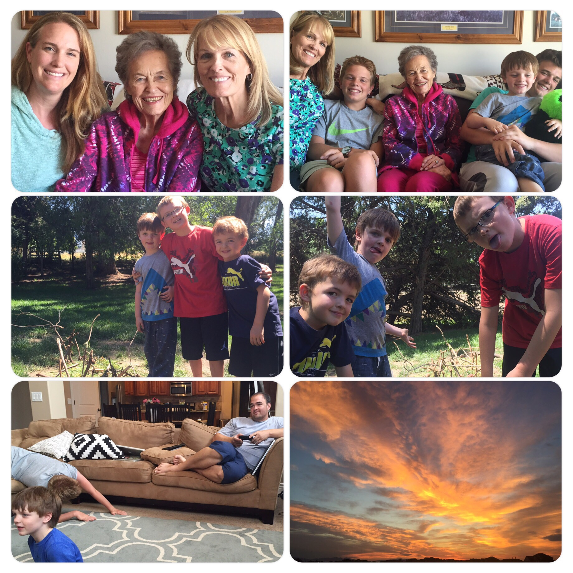Last few visits with Grandma Great, the cousins, and a spectacular farewell sunset. 8.3.15